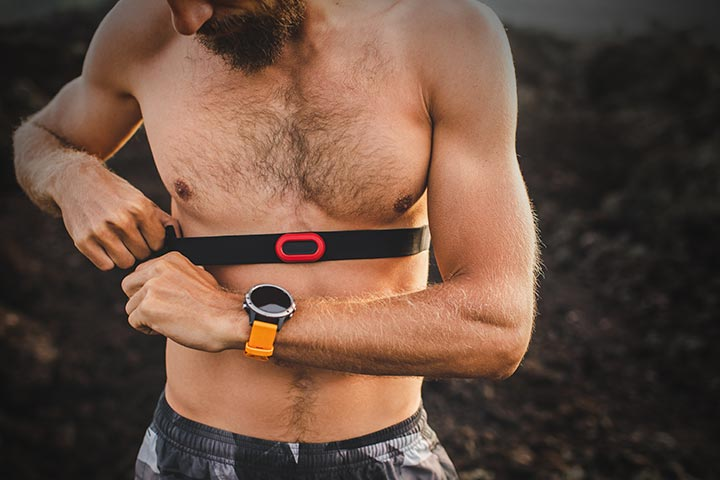 Man using a heart rate strap with his Garmin
