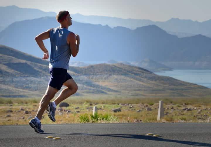 Running man outdoors