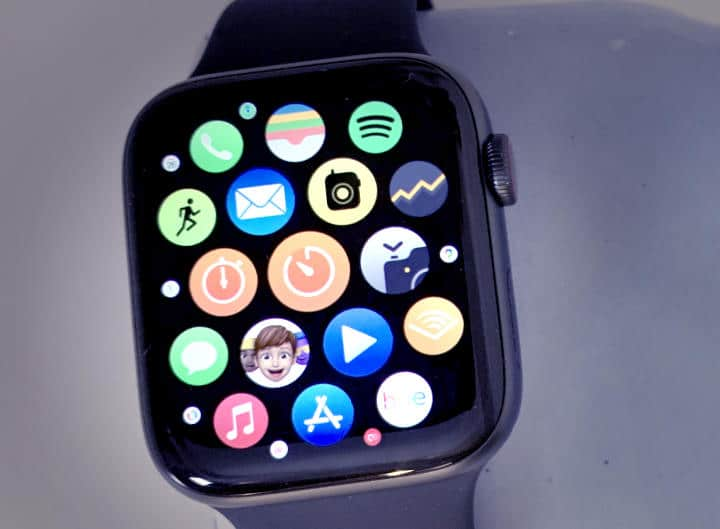 Blue Apple watch with apps open