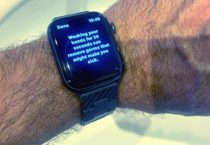 Washing hands Apple Watch 6, 20 second recommendation
