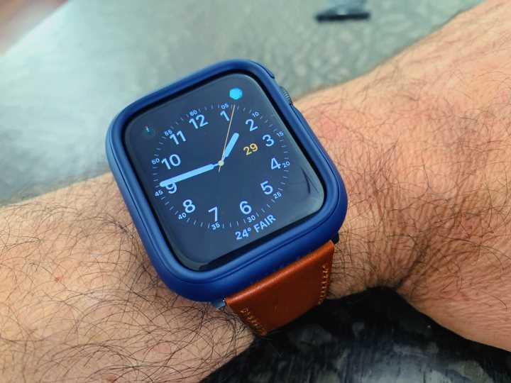 Apple Watch 6 with shield and strap
