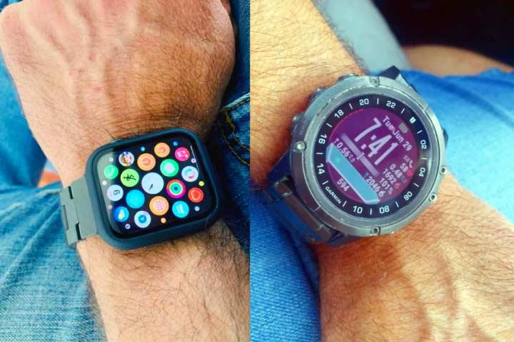 Apple watch and Garmin watch screen