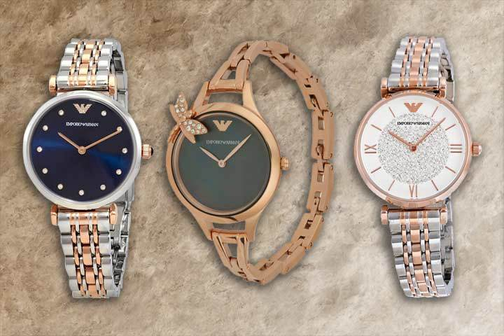 elegant Armani watches with crystal embellishments: Gianni T-Bar, Aurora and Retro with brown marble background