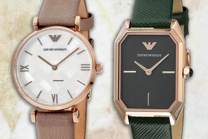 minimalist Armani watches: Donna and Gioia with beige marble background