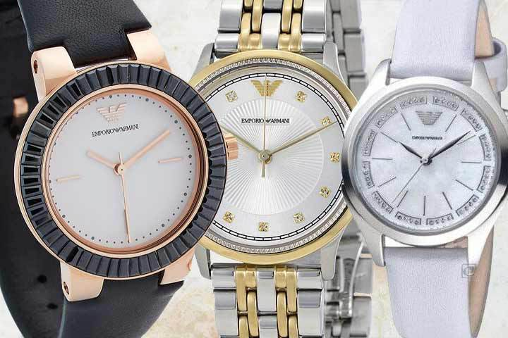 classic yet contemporary Armani watches: Greta, Dress and Valeria with beige marble background