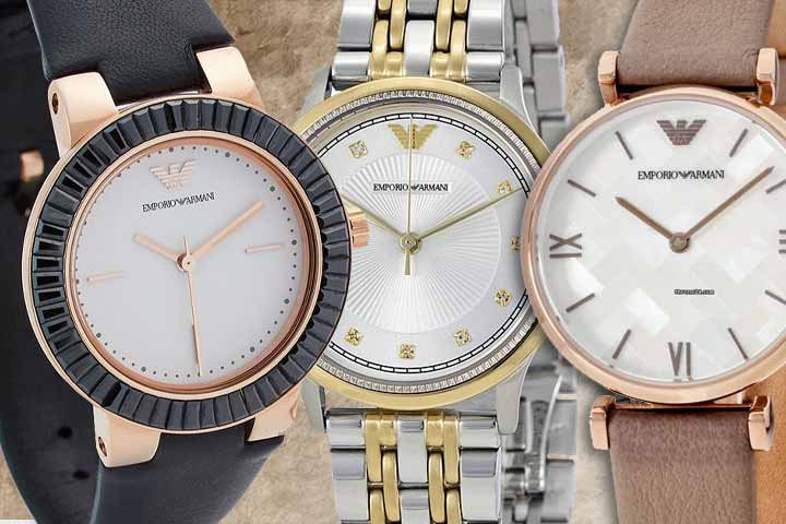 Armani watches: Greta, Dress and Donna with beige background