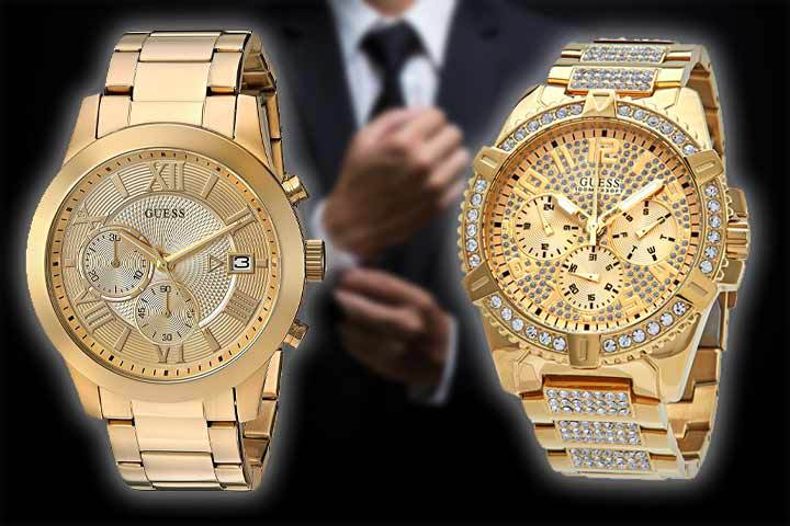 men's gold-tone Guess watches: Guess 45MM Stainless Steel and Guess 48MM Crystal Embellished with man in suit as background