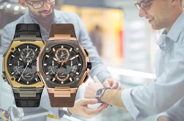 Man tryingon Bulova Precisionist in watch shop