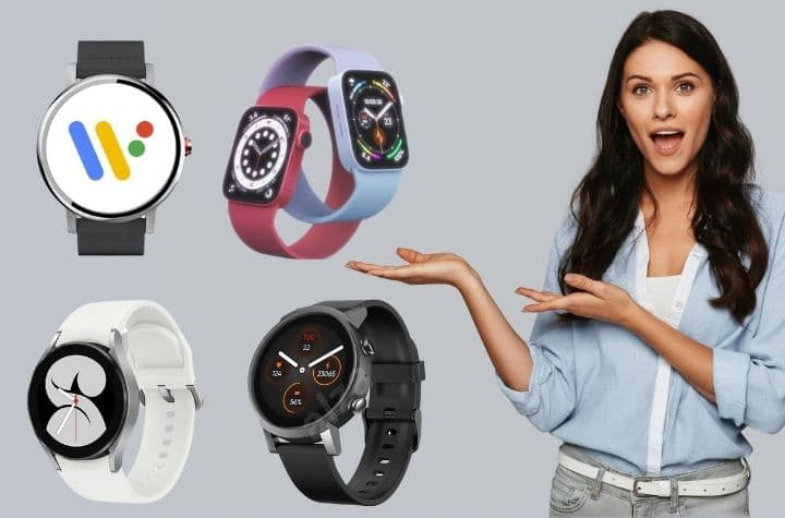 attractive woman demonstrating upcoming smartwatches in 2021