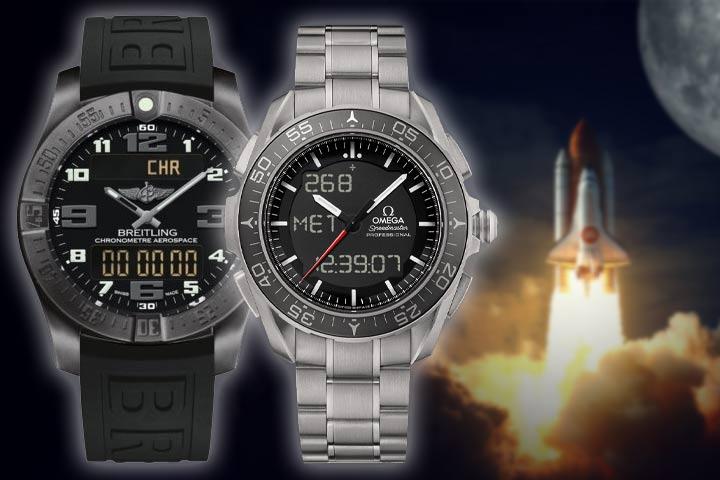 Breitling Professional Aerospace Evo and Omega Speedmaster Skywalker X33