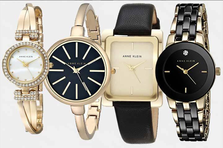 Anne Klein gold-tone watches: AK/1868GBST, AK/1470, AK/2706 and AK/1610BKGB with white background