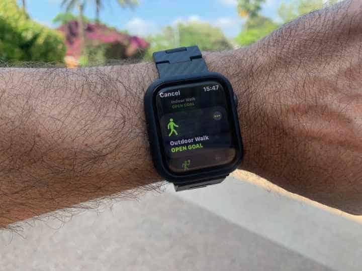 Apple watch outdoor walk goal setup