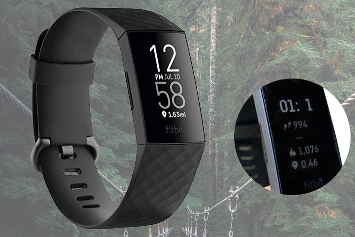 Fitbit Charge 4 with close up shot of smartwatch screen