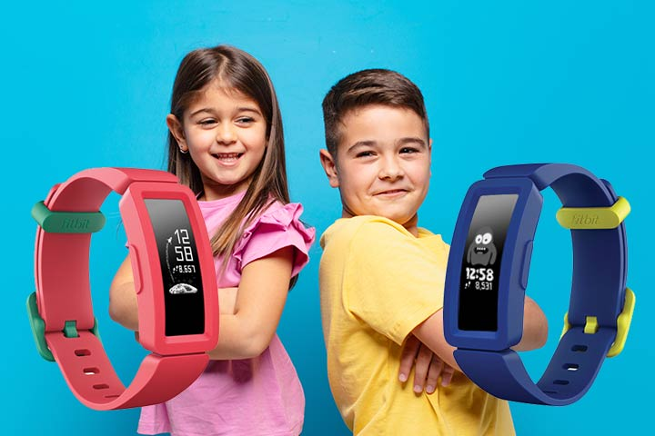 Fitbit Ace 2 pink and blue with a girl and a boy