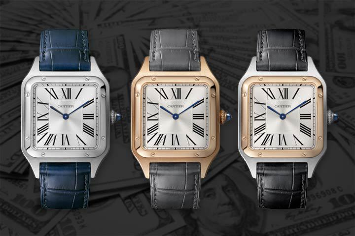 blu, gray and black Cartier Santos-Dumont with money background