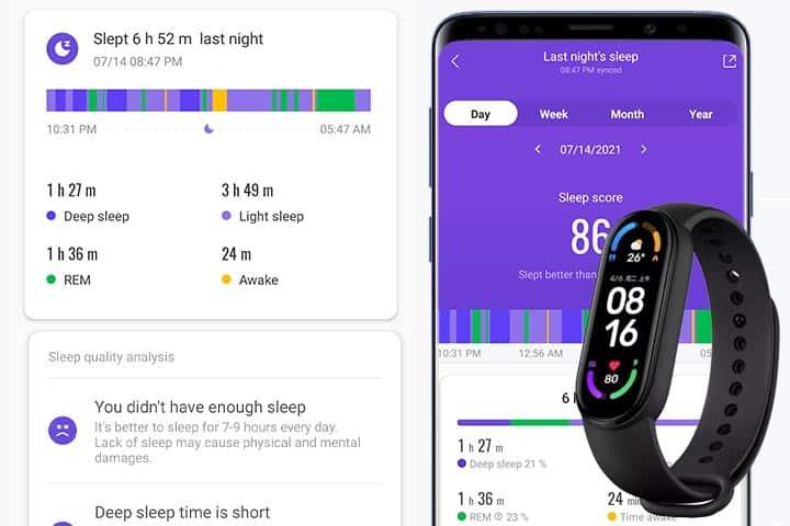 Mi Smart Band 6 sleep tracking appllication