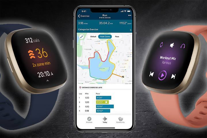 fitness and entertainment features from Fitbit Versa 3 with black background
