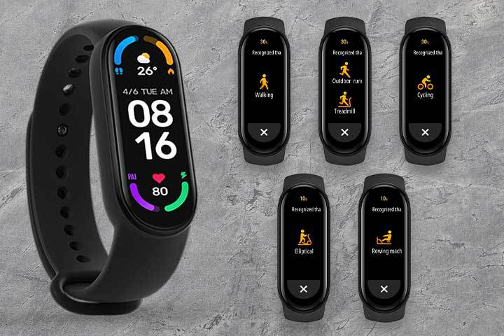 health features from Mi Band 6 with grey background