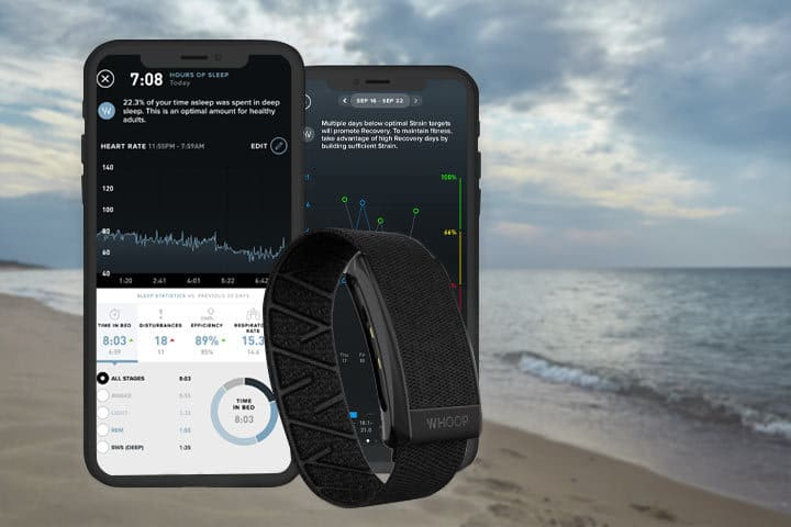 activity tracker from Whoop Strap 3.0 with beach background