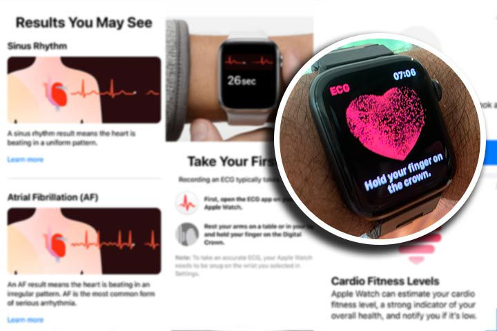 black Apple Watch Series 6 with ECG features background