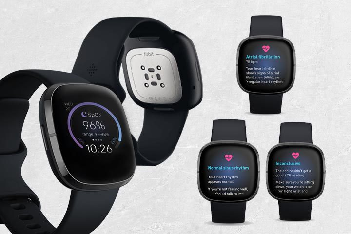 pulse oximetry and ECG features from Fitbit Sense with dirty white background