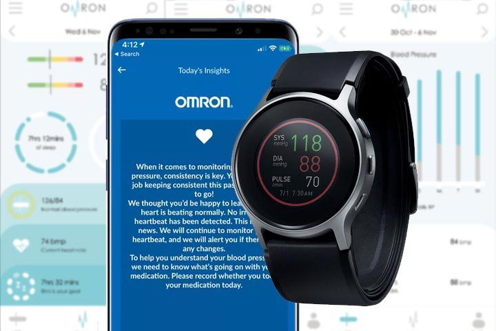 Omron HeartGuide syncronized with phone app and background showing screenshots from app