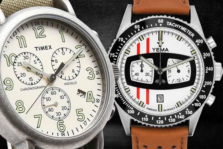 Timex Weekender Chronograph, Yema Rallygraf