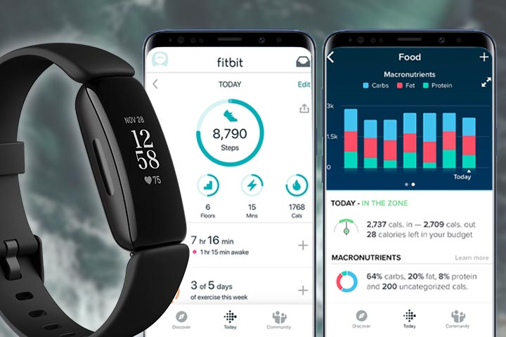 Fitbit Inspire 2 and fitbit app screenshots
