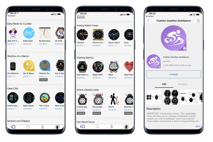 Garmin Connect IQ store for watch faces, tracking widgets and Apps