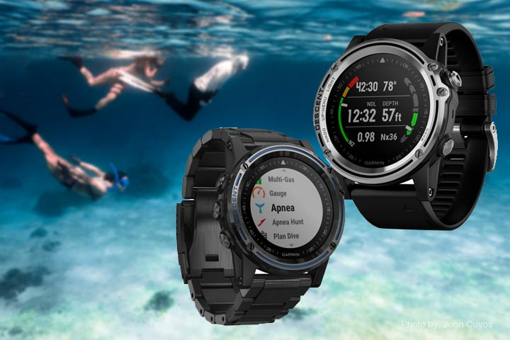 Garmin Descent Mk1 with people snorkelling in the background