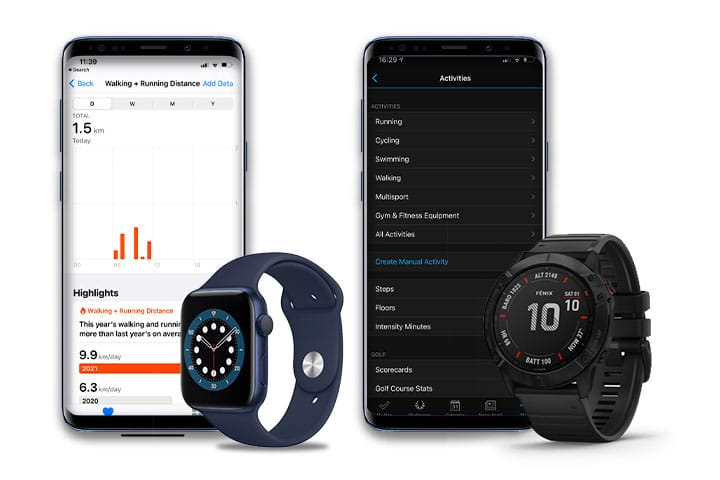 Garmin Fenix 6X Pro and Apple Watch 6 watches and phone with screenshot