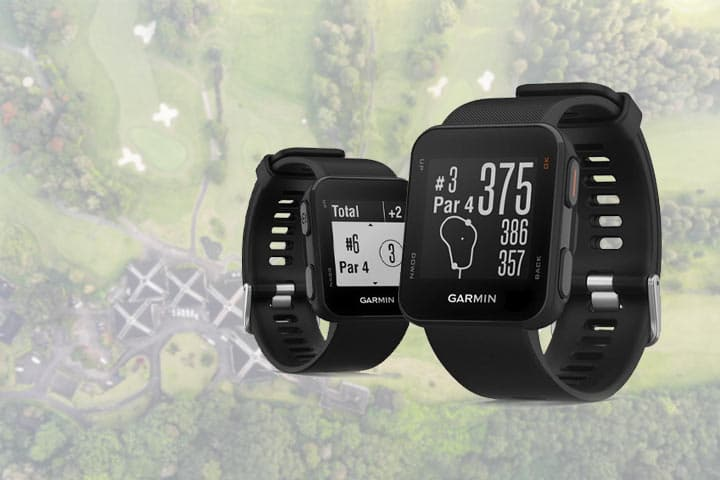 two Garmin Approach S10 GPS with a  golf course background