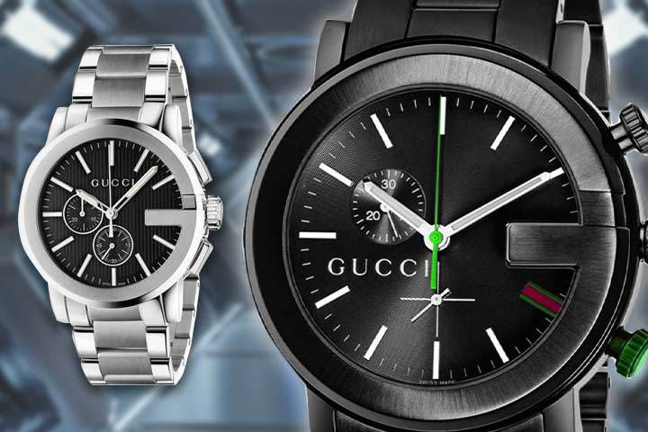 silver and black Gucci G-Chrono watches with metallic background
