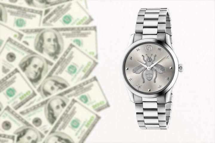 G-Timeless Silver-Toned Watch with money background