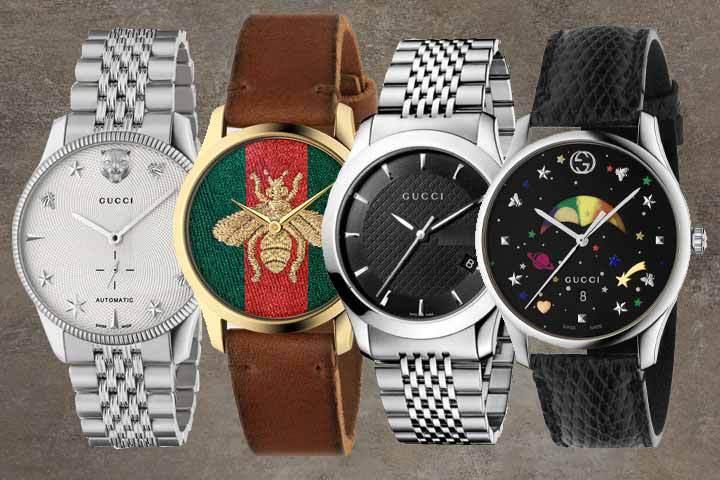 Gucci G-Timeless Line: Analog Silver Watch, Analog ETA Quartz Brown Leather Watch, Black Dial Watch and G-Timeless Moon Phase Watch with brown marble background