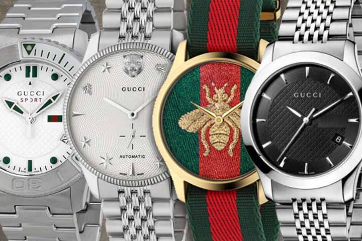 different faces of Gucci Watches: G-Sport Watch, G-Timeless Analog Silver Watch, G-Timeless Quartz Gold and Nylon Watch and G-Timeless Black Dial Watch - Gucci Watches for Men