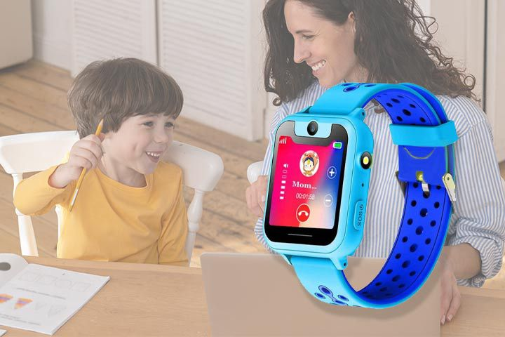 Blue Themoemoe Smartwatch with background of mom and son studying together