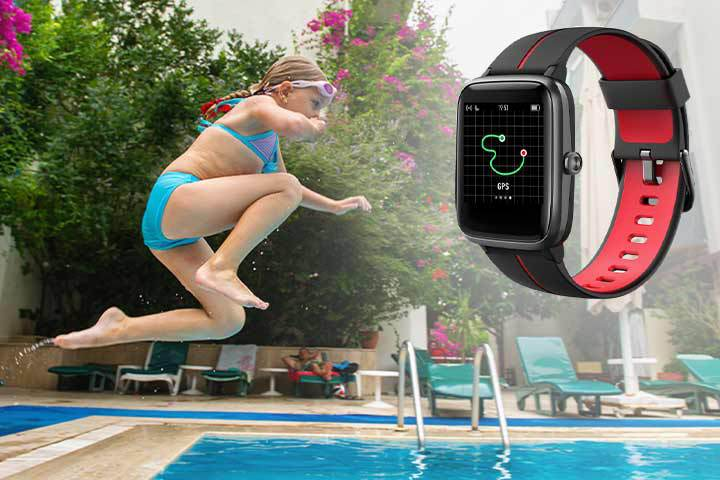 Blackview Kids' Waterproof GPS Smartwatch with background of child jumping into pool