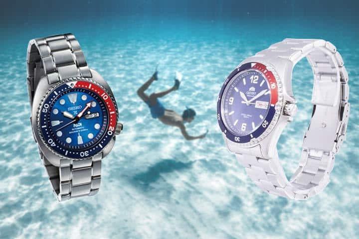 Seiko PADI Prospex Solar Dive  and Orient Mako II with freediving background