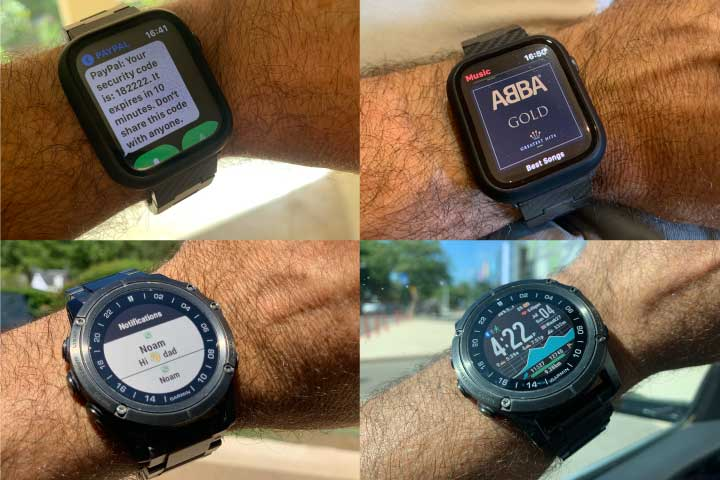 Apple watch and Garmin smartwatch notifications on screen