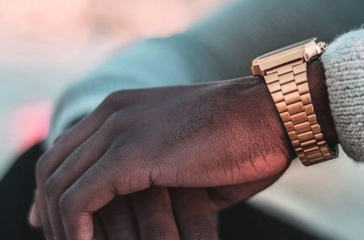 Rose gold classic watch mans hand