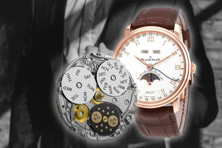 Blancpain Villeret Quantieme Complet 8 Jours 6639-3642-55B with man in balck suit as background
