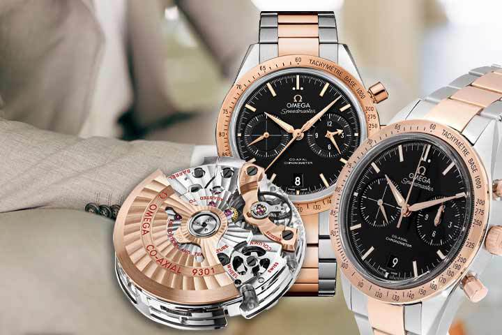 Omega Speedmaster 57 Co-Axial Chronograph with man in beige suit as background