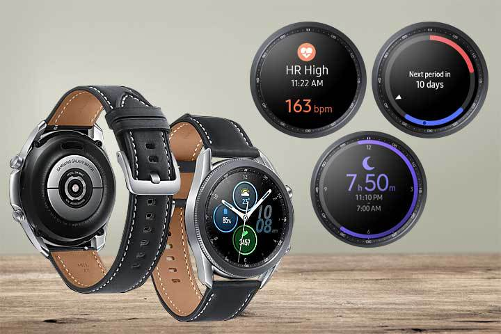 back and front of Samsung Galaxy Watch 3 and its fitness tracking features with beige background