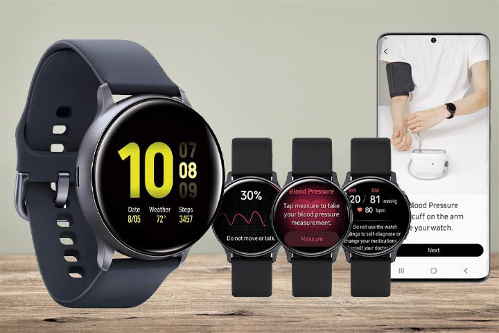 Samsung Galaxy Watch Active 2 (4G) and its blood pressure monitoring features with beige background