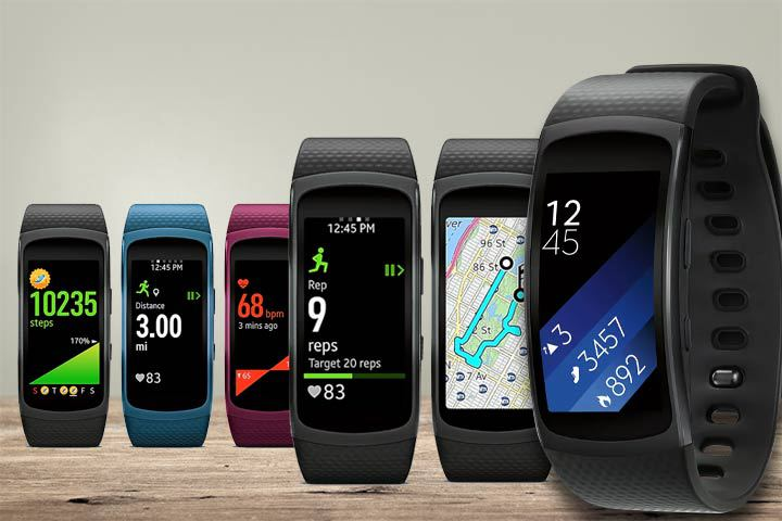 different health monitoring and GPS tracking features of Samsung Gear Fit 2 with beige background
