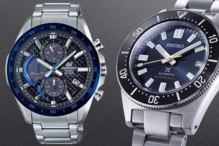 Casio Edifice Solar Quartz Chronograph and Seiko Prospex Dive Watch