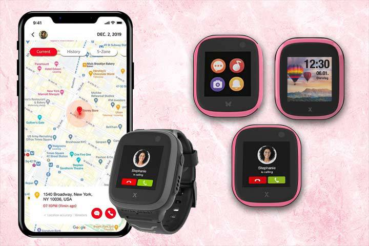 GPS tracking and notification features of XPLORA X5 Play with pink marble background