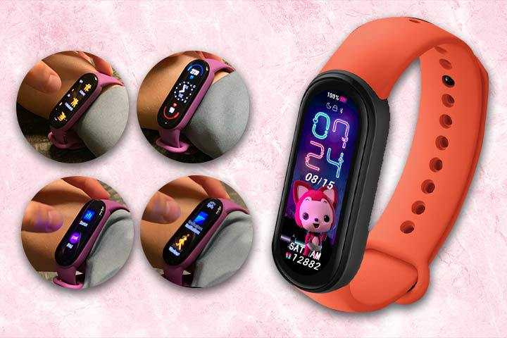 different features of Xiaomi Mi Band 6 with pink marble background