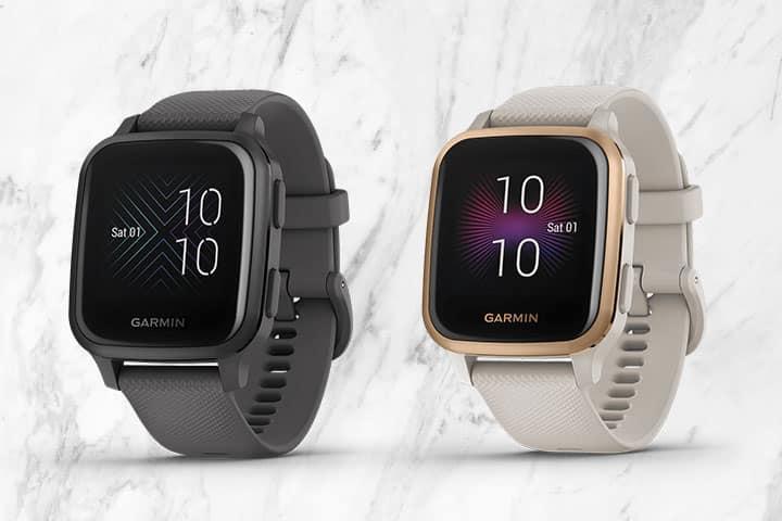 Black Garmin Venu Sq and White Garmin Venu Sq Music smartwatch
